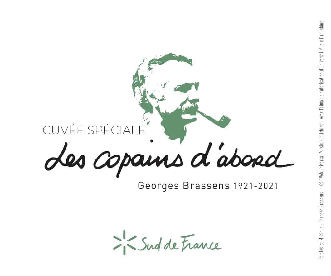 Pour commémorer les 100 ans de la naissance de Georges Brassens à Sète, la Région Occitanie lance une cuvée spéciale baptisée « Les copains d'abord », un AOP Picpoul de Pinet 2020 de la cave coopérative de Beauvignac Pomérols.